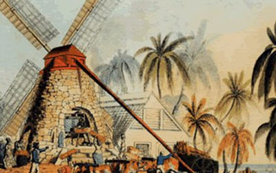 A yard on an Antiguan sugar plantation in 1823. A windmill powers the rollers used to crush the cane before it was boiled to release its sugar.