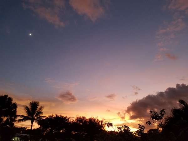 Clouds, moon, and sunset in Miami. thumbnail