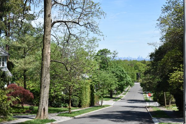 View of New York City from a Street in Upper Montclair, NJ thumbnail