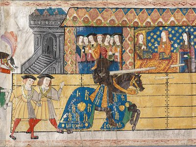 Detail of medieval roll showing England's Henry VIII tilting at a joust in front of his first wife, Katherine of Aragon. In the West, chariot racing died out rather quickly, but beginning in the second half of the 11th century, knightly tournaments were the spectacle of medieval Europe.