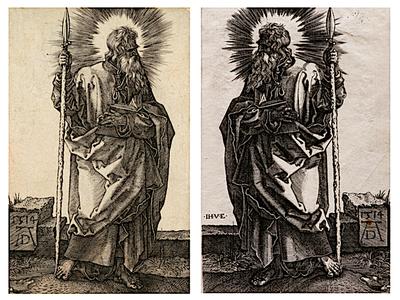 "Left: Albrecht Dürer, ""St. Thomas,"" 1514 / Right: Johann Ladenspelder, ""St. Thomas,"" circa 1535 – 1561"