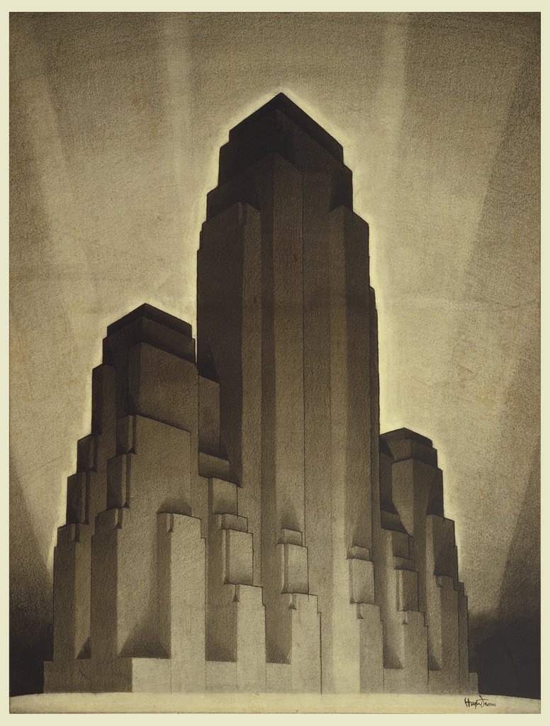 A black crayon drawing in shades ranging from white, brown, black, and gray of an stylized Art Deco, smooth lines and geometric shapes, New York City building study.