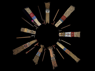 """Plains nations' pipes and pipe bags from the collections of the National Museum of the American Indian  and the Division of Anthropology, American Museum of Natural History. On view in the exhibition """"Nation to Nation: Treaties Between the United States and American Indian Nations"""" at the National Museum of the American Indian in Washington, D.C. (Ernest Amoroso, Smithsonian)"""