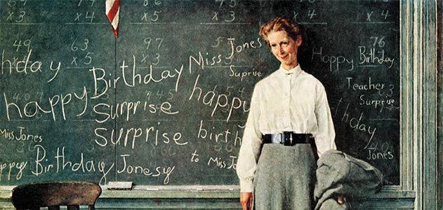 Norman Rockwell Happy Birthday Miss Jones
