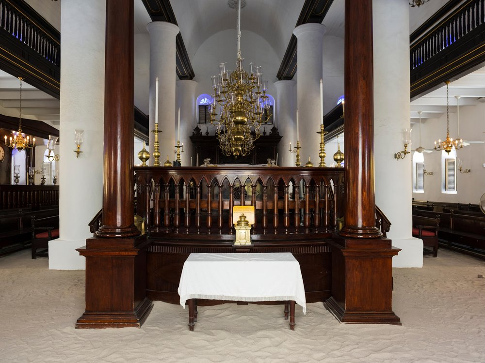 Interior and sand floor of the Mikve Israel-Emanuel Synagogue in Willemstad, Curacao