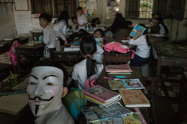 Students playing in classroom, Cambodia thumbnail