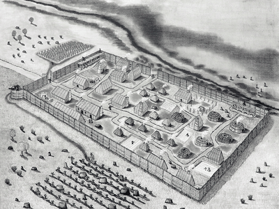Archaeologists confirmed the find in late 2019 but only announced the news now due to delays caused by the Covid-19 pandemic. This drawing shows what the St. Mary's Fort may have looked like.