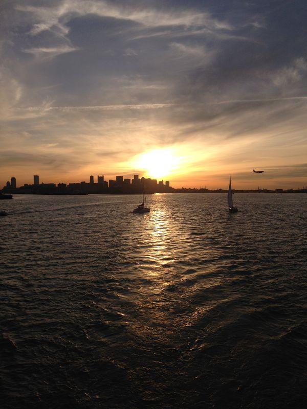 Sunset over the Boston Harbor thumbnail