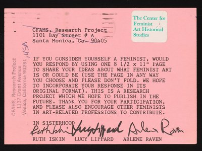 """The original call for submissions that was mailed out for the 1977 iteration of """"What is Feminist Art?"""""""