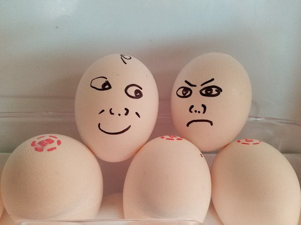 Eggs with faces in a refrigerator thumbnail