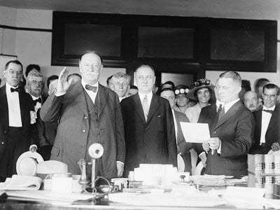 Ex-President William Howard Taft (1857-1930) sworn in as chief justice of the United States in 1921