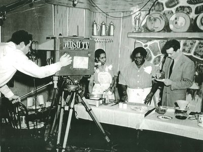 Cookbook author Lena Richard (above with her daughter and sous chef Marie Rhodes) was the star of a 1949 popular 30-minute cooking show, airing on New Orleans' WDSU-TV.