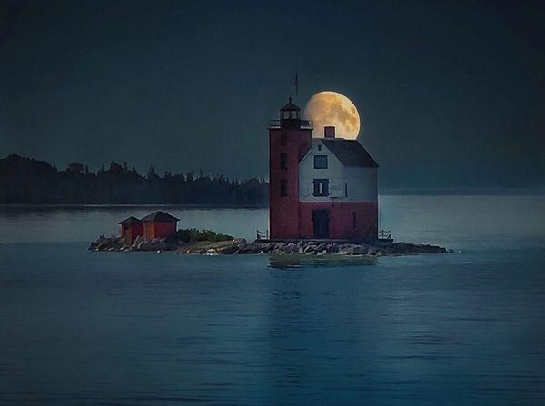 Full moon over Round Island Lighthouse thumbnail