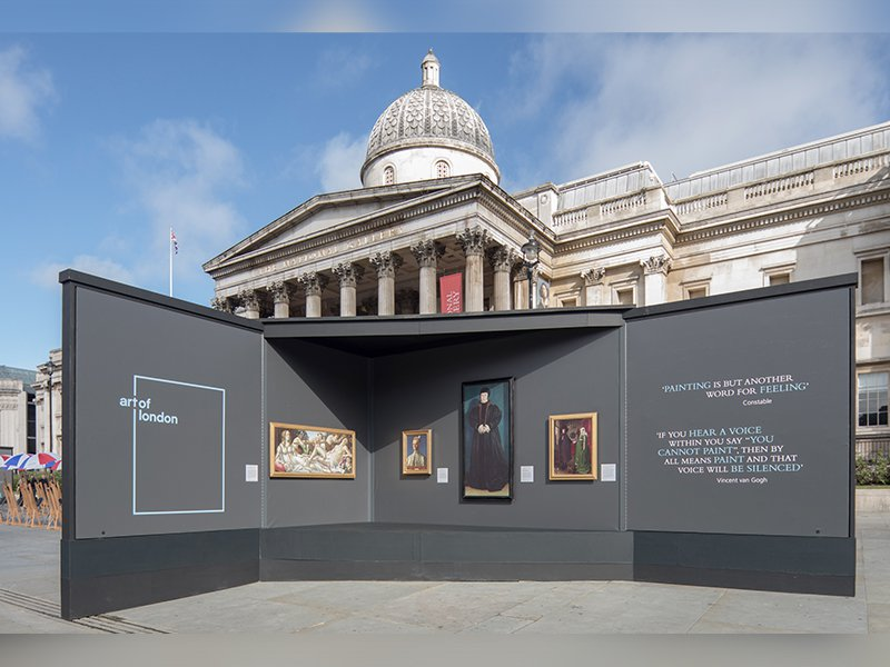 View of the pop-up exhibition in London's Trafalgar Square