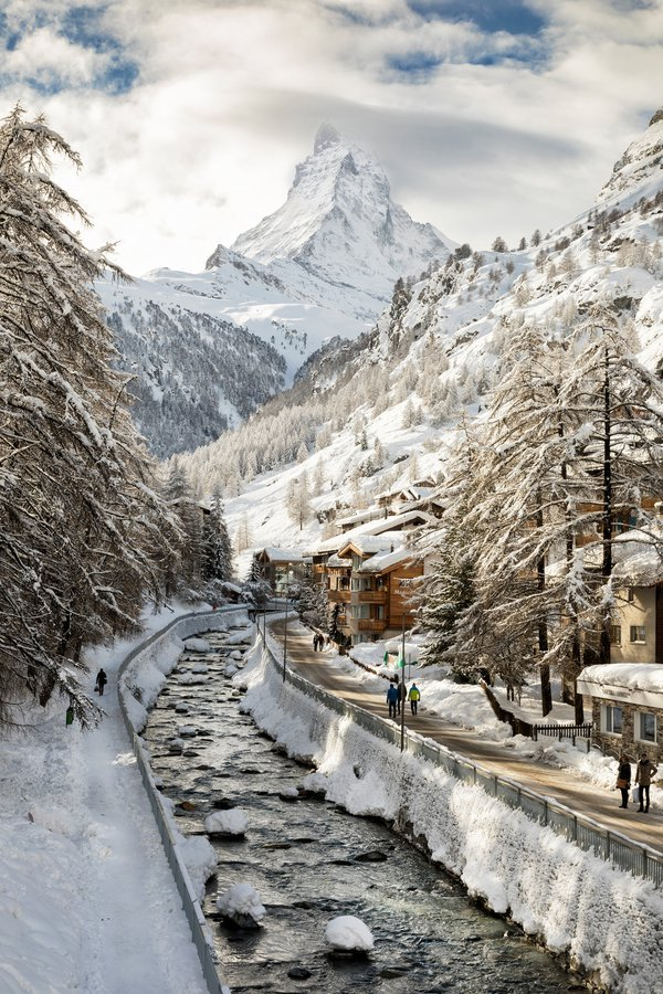 Mattherhorn mountain in winter. Zermatt, Switzerland - January 11, 2018 thumbnail