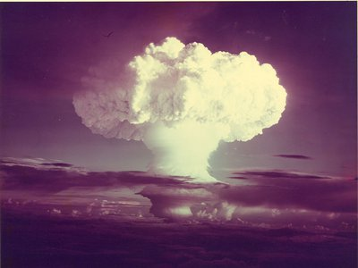 The first test of a thermonuclear weapon, or a hydrogen bomb, codenamed Ivy Mike and conducted by the United States in 1952 over the island of Elugelab in Enewetak Atoll in the Pacific Ocean.