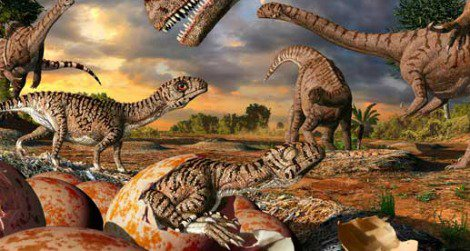 A parent Massospondylus attends to its hatchlings