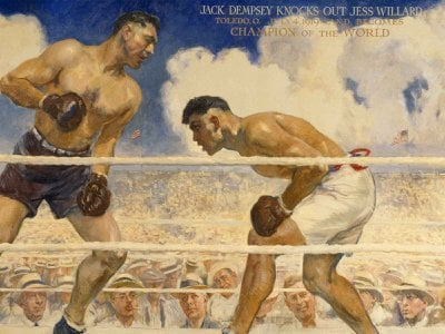 The legendary fight lives in the 1944 painting  Dempsey-Willard Fight (above in detail) by James Montgomery Flagg, capturing the sense of a mass of humanity watching a hard-fought contest.