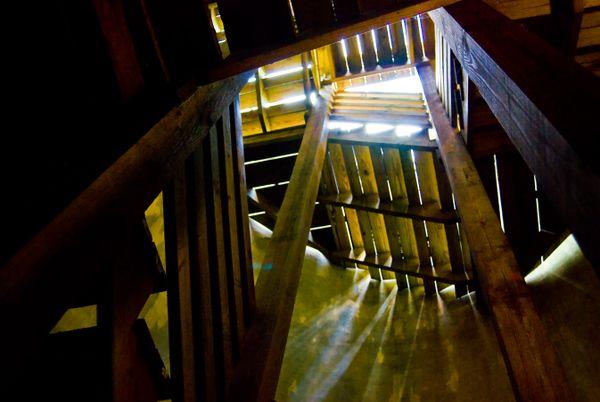 Steps inside an old silo on an Amish farm in Paradise, Pennsylvania. thumbnail