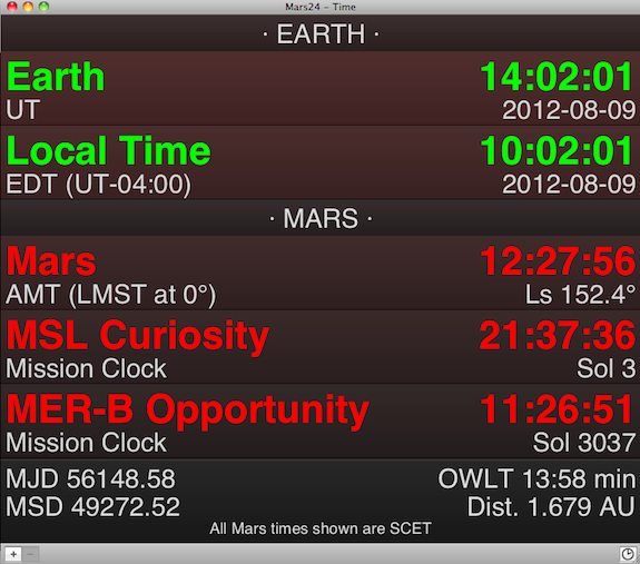 The Mars24 App's listing of times of various locations on Mars, including the Curiosity and Opportunity Rovers.