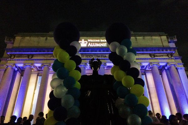 Alma Mater statue and Low Library projections, Columbia University in New York City thumbnail
