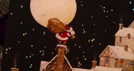 If you don't want to show an misformed Moon on a Christmas card, a full moon is a safe option