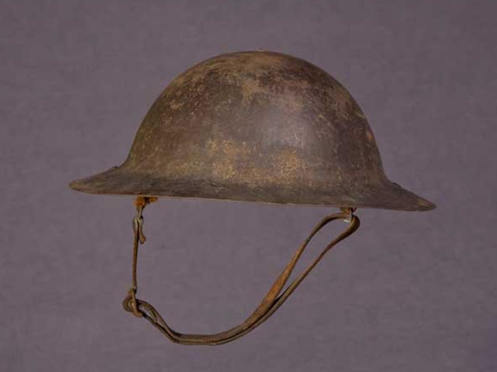 Helmet worn by Peter L. Robinson in World War I