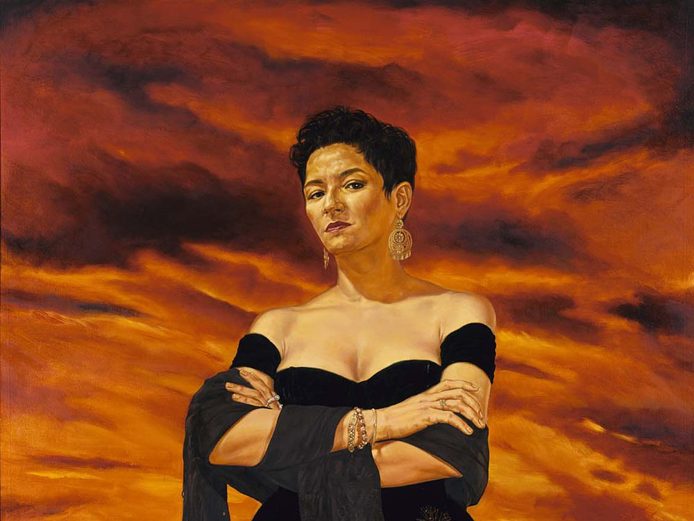 Angel Rodríguez-Díaz, The Protagonist of an Endless Story, 1993, oil on canvas, 72 x 57 7/8 in. (182.9 x 147.0 cm.), Museum purchase made possible in part by the Smithsonian Latino Initiatives Pool and the Smithsonian Institution Collections Acquisition Program, 1996.19, © 1993, Angel Rodriguez-Diaz.
