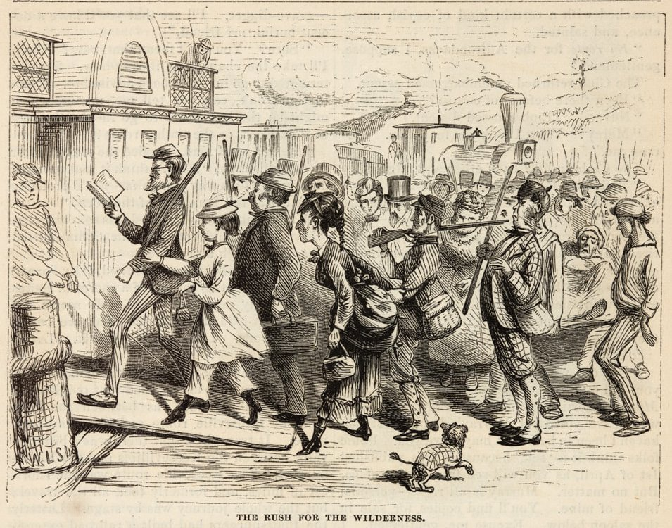 """The Rush"""" lampooned in an 1870 issue of Harper's Magazine"""