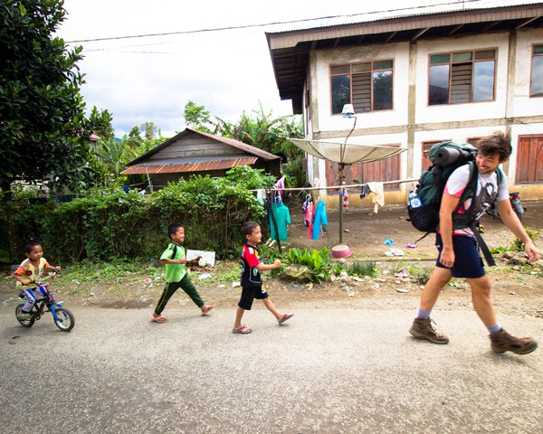 Local kids join us on our trek to the basecamp of Gunung Tujuh, Sumatra, Indonesia. thumbnail