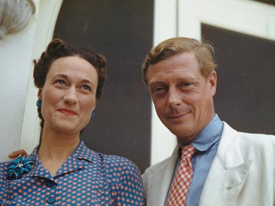Wallis Simpson and Prince Edward outside of Government House in Nassau, the Bahamas, circa 1942