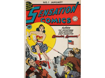 """As soon as Wonder Woman appeared in Sensation Comics, beginning with her cover debut in 1942, she caused a stir. """"Wonder Woman is not sufficiently dressed,"""" one bishop groused."""