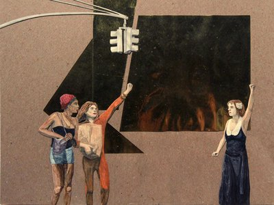 S.T.A.R. (2012) by Tuesday Smillie. Watercolor collage on board.