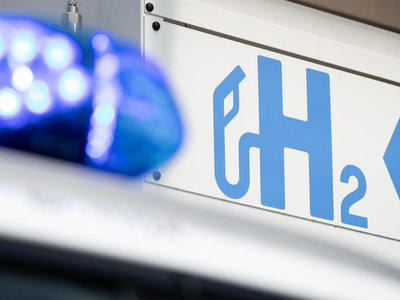 Pictured: A hydrogen fuel station sign in Osnabrück, Lower Saxony in Germany.