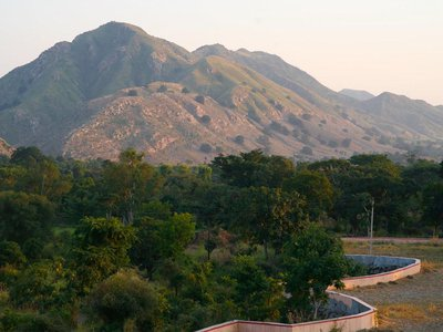 The cave paintings are located in the Aravalli mountain range in northwestern India.