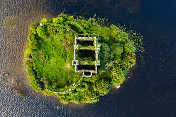 A top down view of McDermott's Castle, Ireland thumbnail