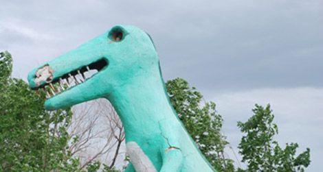 A roadside dinosaur in Jensen, Utah