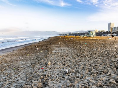 Litter, much of it plastic, dots a beach in Santa Monica, CA, the morning after a beach cleanup.