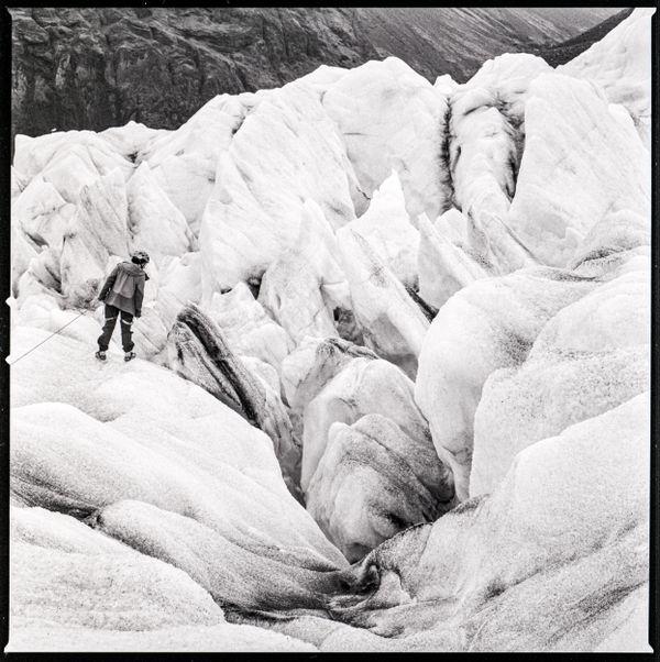 Glacier hiker peering into a crevasse thumbnail