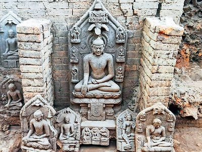 Six of the statues appear to depict Siddhartha Gautama, while five likely portray the Hindu deity and Buddhist bodhisattva Tara.