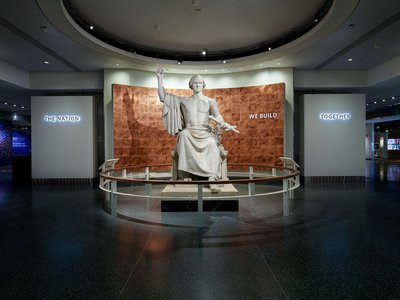Horatio Greenough's 12-ton marble statue of George Washington heralds the newly reopened west wing gallery.