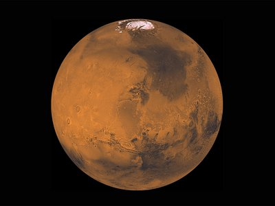 What thorny ethical issues await us once we make it to Mars? A composite image of the red planet, composed by processing about 1000 Viking Orbiter red- and violet-filter images have been to provide global color coverage at a scale of 1 km/pixel.