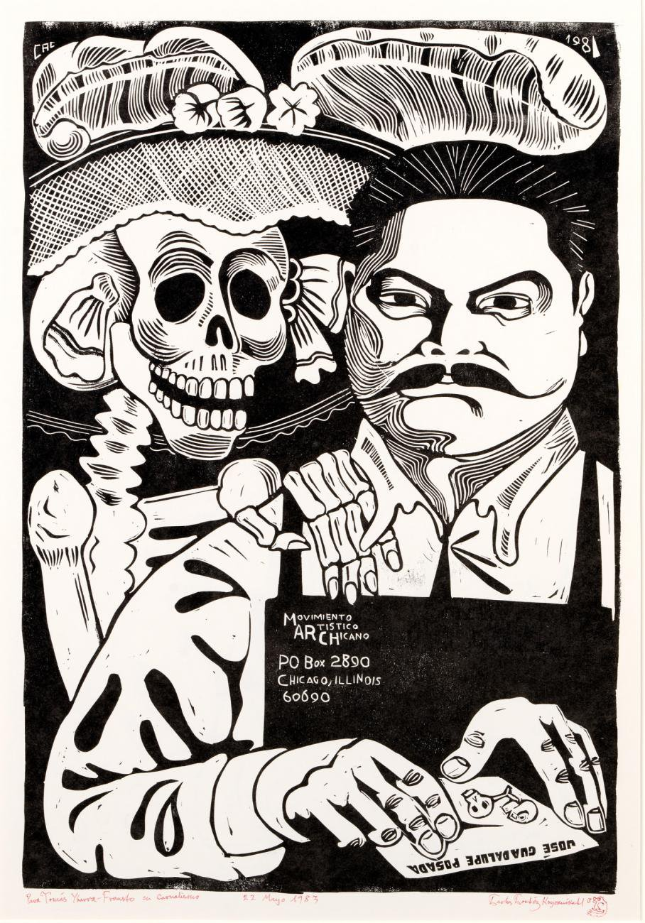 An artwork of a man with a skeleton next to him.