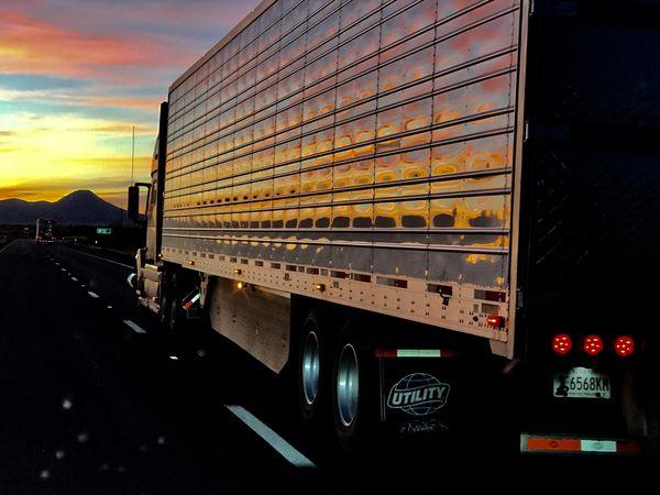 52' semi-trailer at sunset on I-40 near Seligman, AZ nov 17 thumbnail