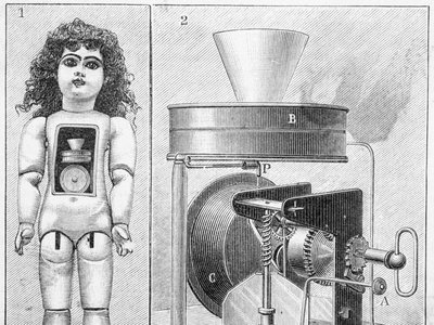 An original schematic of Thomas Edison's speaking doll showing the phonograph mechanism inside