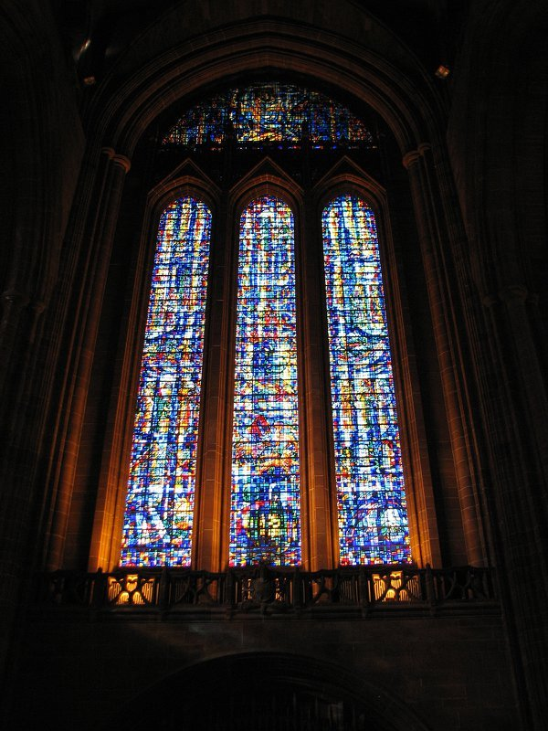 Stained glass window in the Liverpool cathedral thumbnail