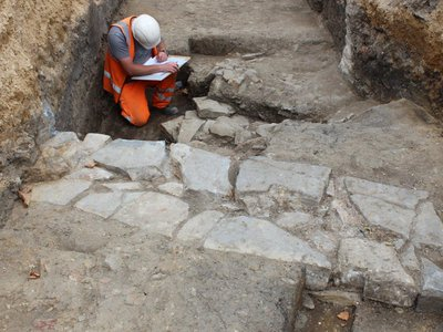 Archaeologists unearthed the friary's ruins beneath the site of a demolished parking garage.