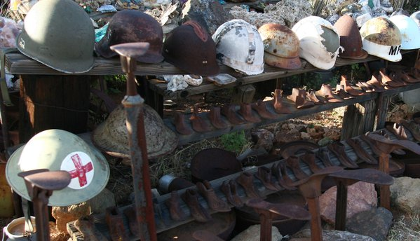 A collection of historical headgear on display at Rattlesnake Ranch, a Southeastern Arizona novelty shop. thumbnail