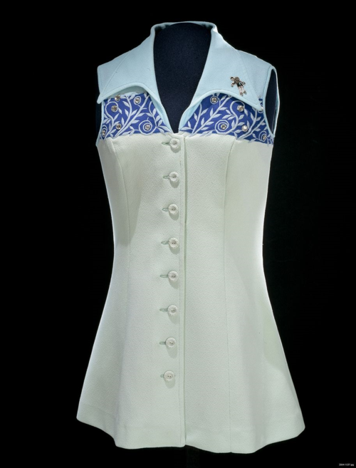 White and blue collared tennis dress