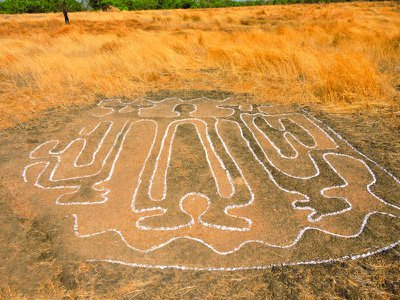 One of the human figures depicted in the newly documented petroglyphs